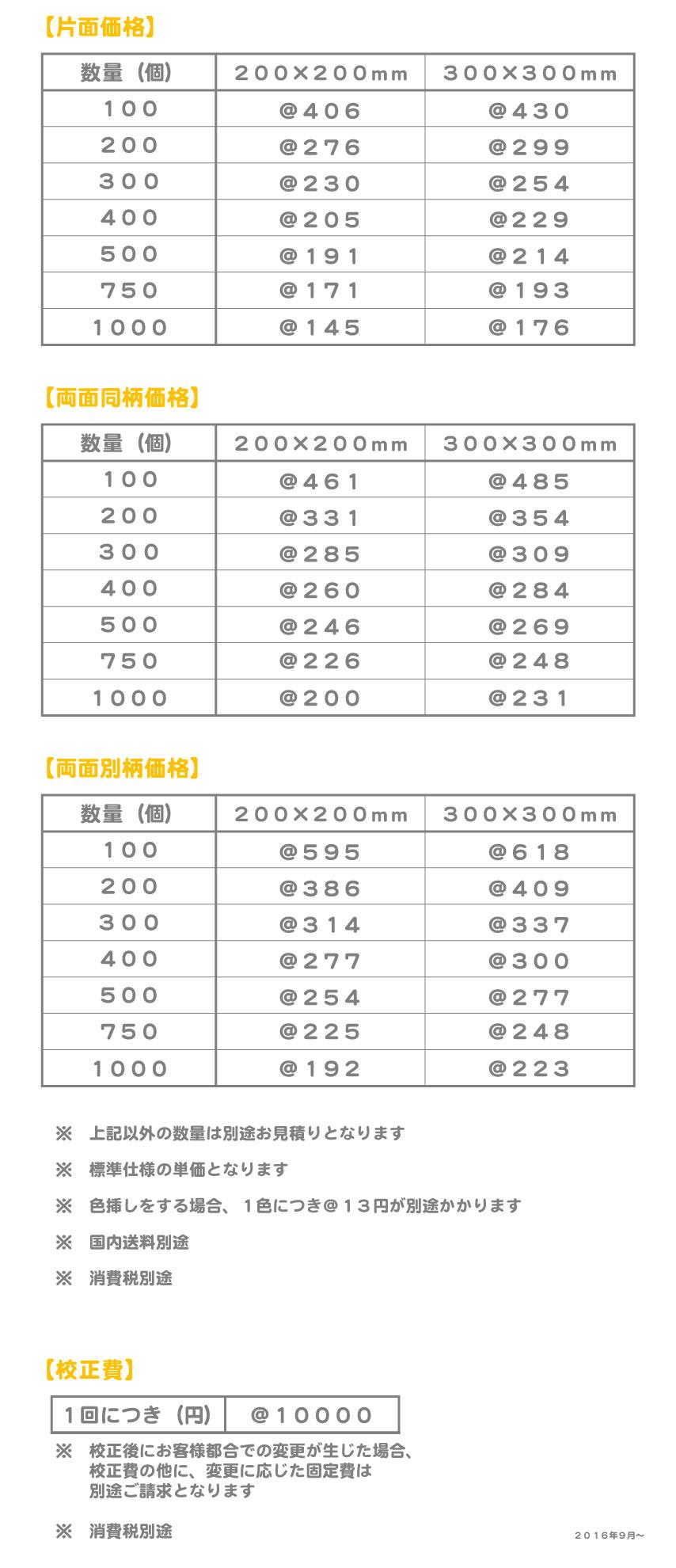 マイクロファイバー価格表