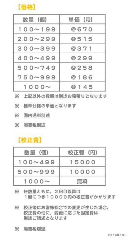 半立体PVC価格表1606