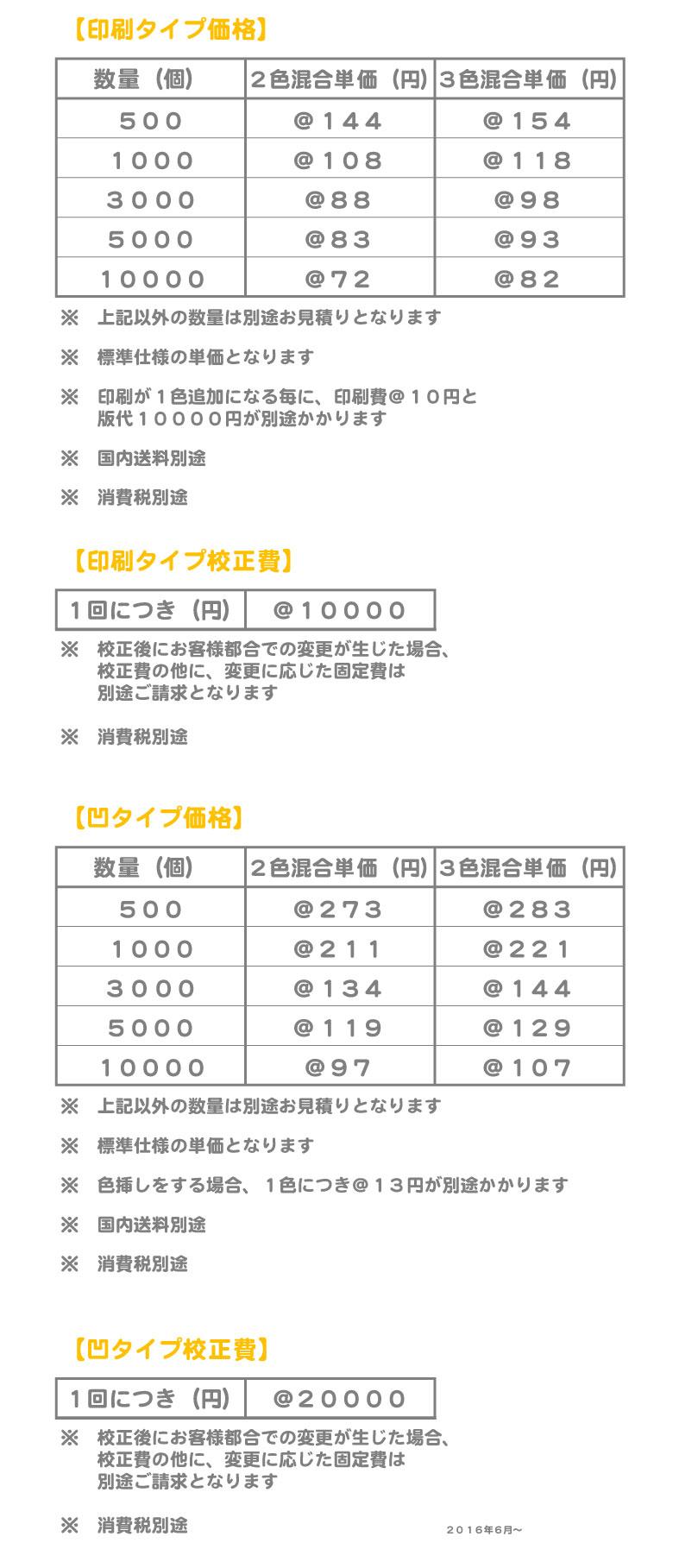 多色混合価格表1606