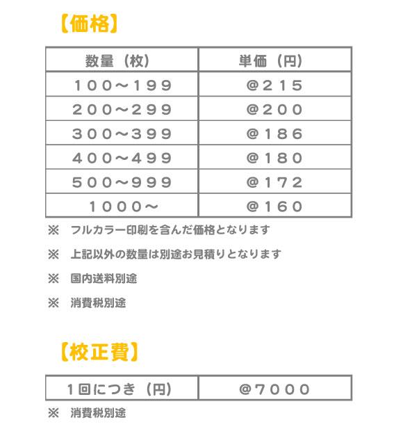 ミニタオル価格表